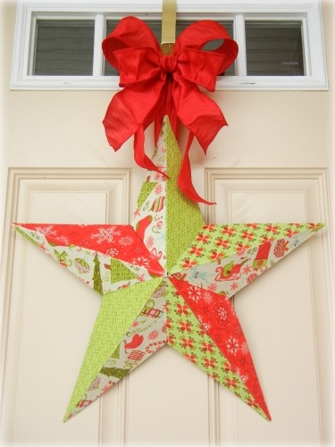 Fabric Mod Podge Christmas Star - the tutorial gives the BEST way to use fabric mod podge!