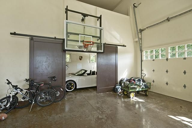 Basketball hoop inside a garage home barns or garages for Basketball hoop inside garage