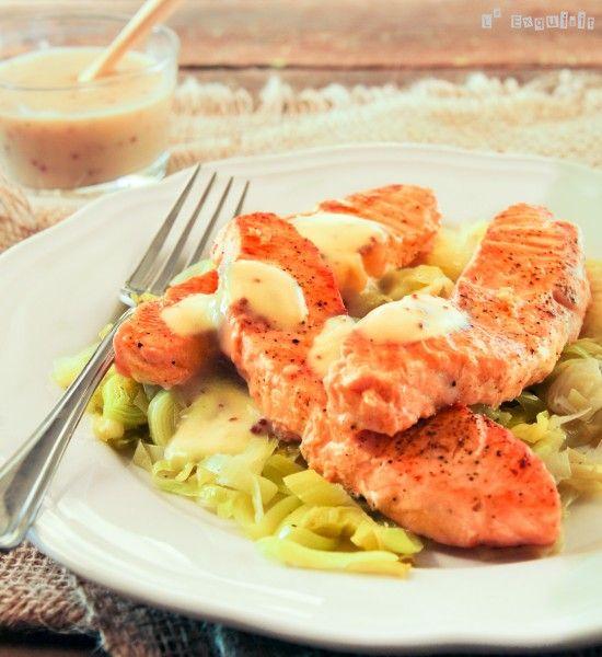 Salmón y puerro con salsa bechamel a la mostaza - L'Exquisit