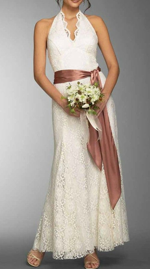 Feminine halter lace wedding dress for older brides over for Wedding dresses for 60 year olds