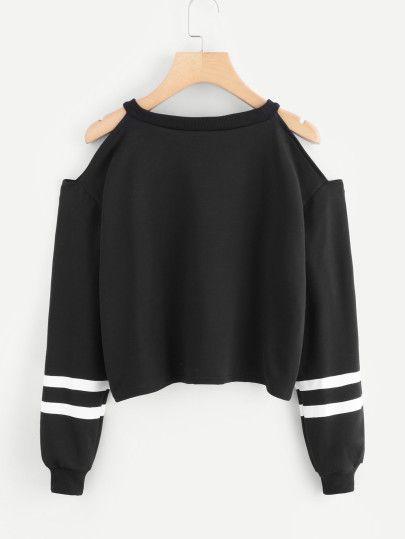 Cold Shoulder Varsity Striped Sweatshirt 2