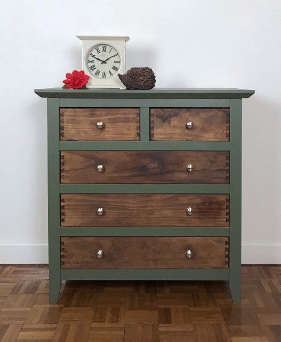 Rustic Green And Wood Chest Of Drawers Partially Hand Painted In
