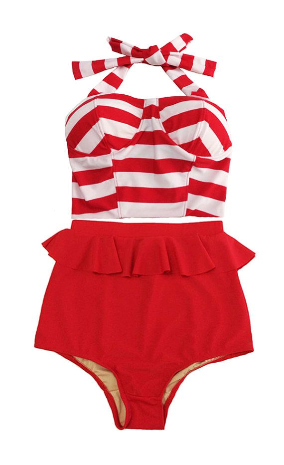 Red/White Stripe Long Top and Red Peplum Retro by venderstore