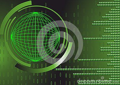 Vector technology background with green mesh.