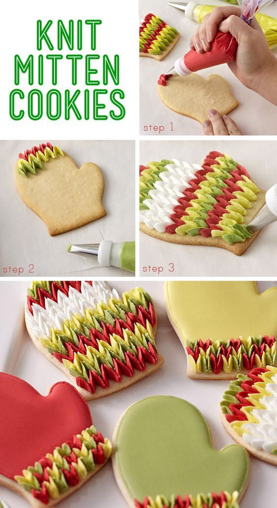 Piped petals give these cookies the look of your favorite wool mittens. Christmas Cookies