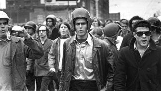 A group of young radicals donning protective headgear at the Days of Rage protest in Chicago,1969.