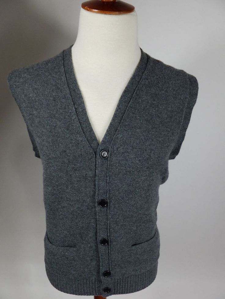 J Crew Fine Lambs Wool Button Down Gray Cardigan Sweater Vest 97478 Men Large #JCrew #Cardigan