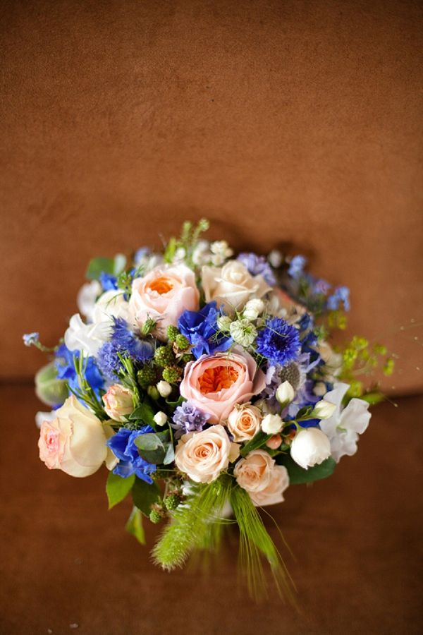 blush and blue wedding bouquet, image by Victoria Phipps Photography