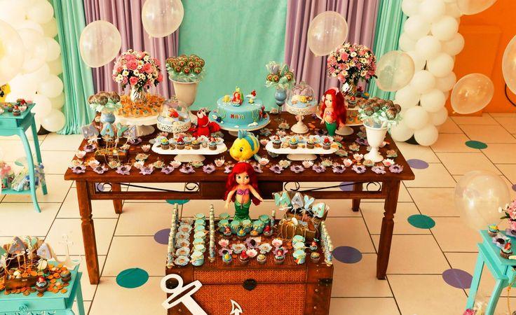 Festa Tema Pequena Sereia Mara Inesquecível Festa Mesas e Maya -> Enfeites De Mesa Tema Sereia