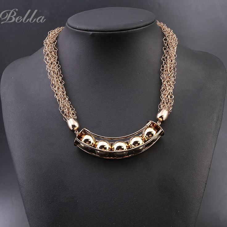 Real Titanium Plating Chunky Chain Beads Necklace Women New Fashion Collar Vintage Jewelry Necklace Dress Gift(X0232)