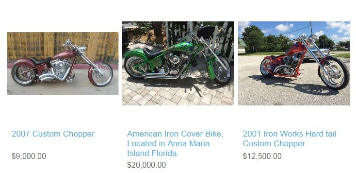 Find new or used custom chopper motorcycles for sale from across the nation on Choppersforsale.com. You can expect the best collection of custom chopper motorcycles to choose from. Our purpose is to sell resources essential for the motorcycle and the outdoor lifestyle, while continuing to design and create high quality motorcycles and parts. We wanted to create something created by the rider, for the rider. Find chopper bikes and dual purpose custom choppers for sale direct from owners.
