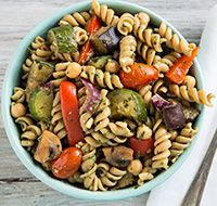 Warm Pasta Salad with Roasted Vegetables and Pesto Vinaigrette from @Patricia Smith K. Young Vegan Kitchen