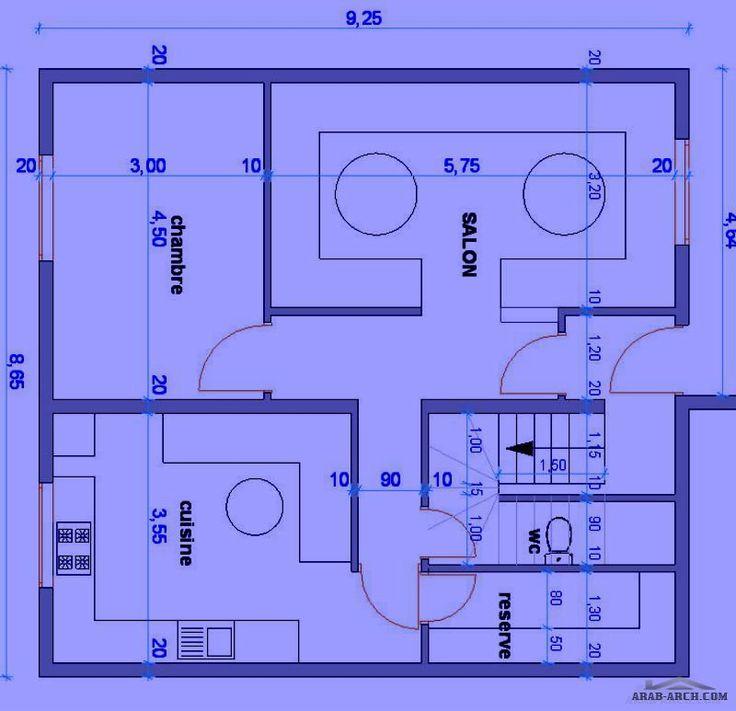 تصميم بقعة ارضية منزل 80متر Arab Arch Floor Plans Building Habitats