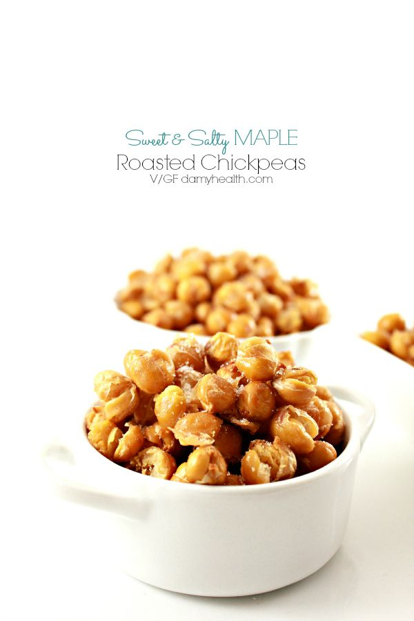 Sweet and Salty Roasted Maple Chickpeas – I am still (7 years later) in love with roasted chickpeas. I use roasted chickpeas as a snack, on salads, in soups and on top of roasted vegetables. For me they have replaced popcorn, chips, croutons, you name it. #Vegan #glutenfree #DAMYHealth #HealthyRebel
