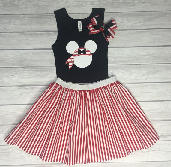 Pirate Minnie Shirt Skirt & Bow Set Cruise by ChicDesignsStudio