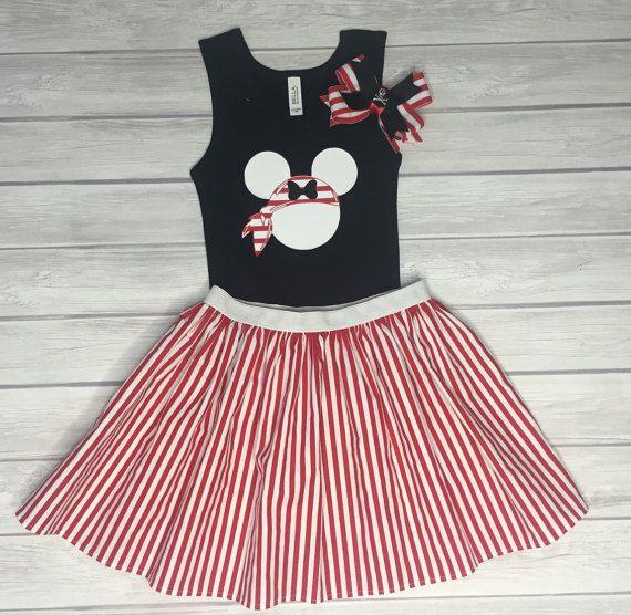 Pirate Minnie Shirt, Skirt, & Bow Set, Cruise Outfit, Girls' Outfit, Minnie Pirate Outfit, Disney Cruise, Girls