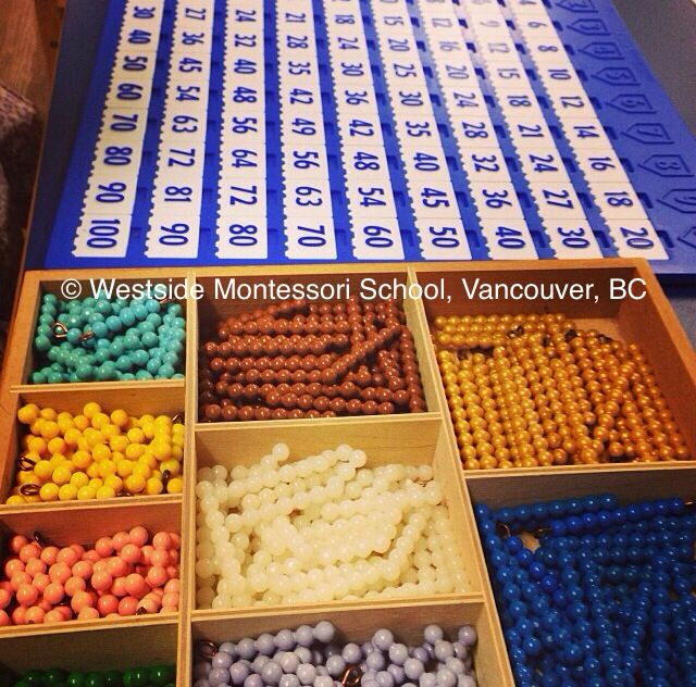 Montessori Math beads combined with the Insta Learn multiplication board for hands-on learning of times tables.
