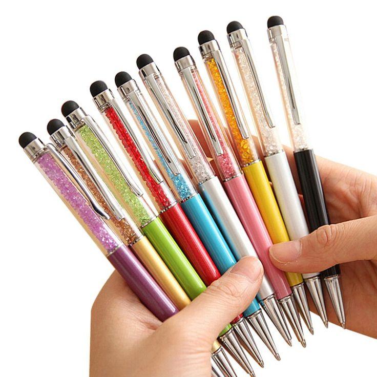 20 Colores de Cristal Bolígrafo Creativo de Moda del Tacto de la Pluma para la Escritura de Papelería de Oficina y Escuela Pen Bolígrafo Negro Azul