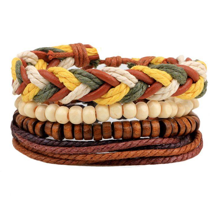 Punk Vintage Multilayer Leather Bracelets For Women Men Jewelry Bohemian Braided Beads Bangles Adjustable