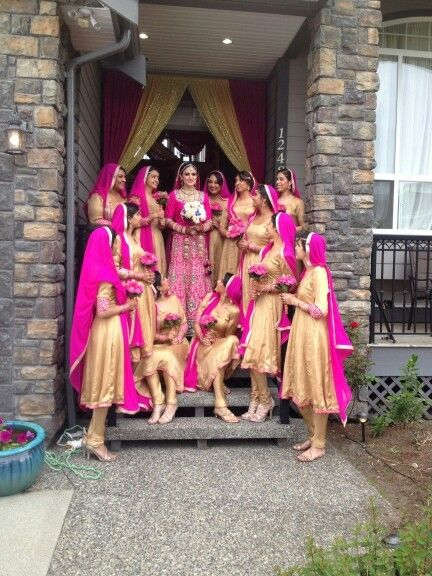 Canadian bride with her bridemaids :) Njoying the greatest day of her life Outfit courtesy : punjabi suits ludhiana PSL wishes  her a wonderful life ahead