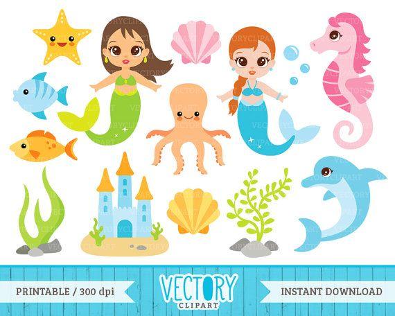 15 Mermaid Clip Art Sea Clipart Under the Sea by VectoryClipart