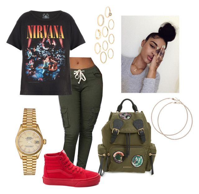 """Nirvana☺"" by lovvveeeeee ❤ liked on Polyvore featuring Rolex, Burberry, Wet Seal, Trunk LTD, Vans and Charlotte Russe"
