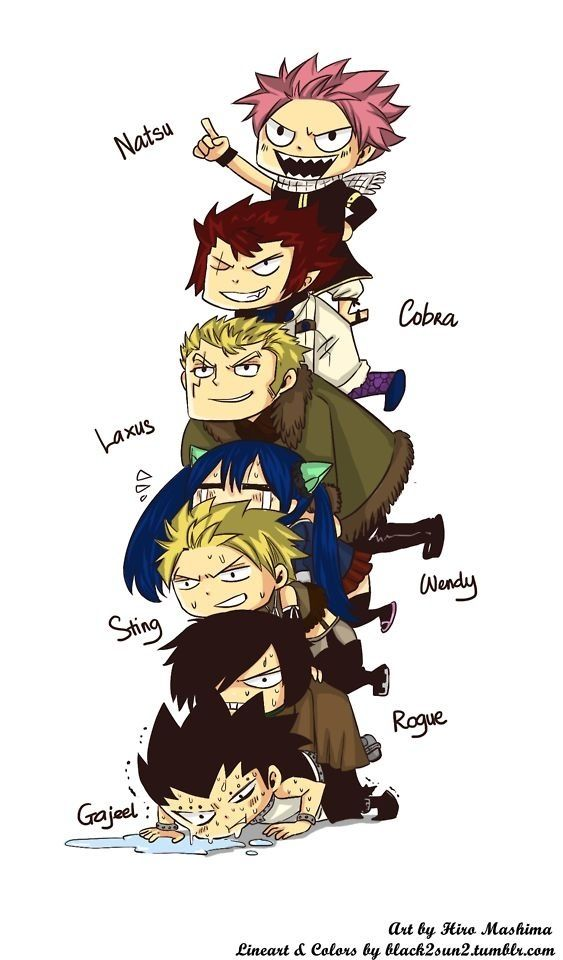 "I don't know who is funnier here. Gajeel or Wendy. It's like, Natsu-""I won!!"" Cobra-""Not for long.."" Laxus-""I'm not out yet.."" Wendy-""help.."" Sting-""How did this happen.."" Rogue-""Gajeel.."" Gajeel - *dying*"