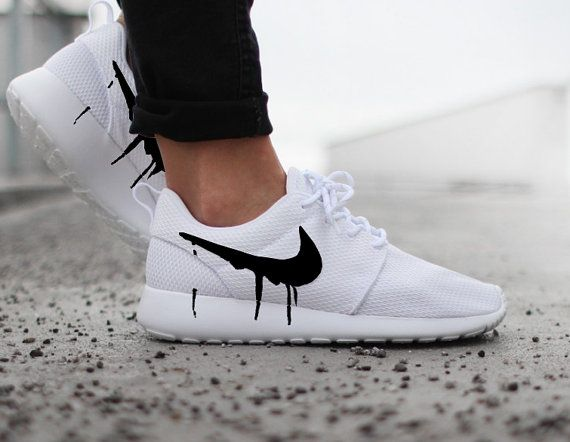 Nike Roshe Run One White with Custom Black Candy Drip Swoosh Paint