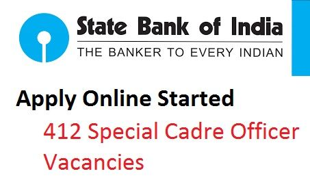 State Bank of India release 412 Specialist Officer Recruitment, You can apply online for SBI SO Recruitment 2016-2017 Till Last date 22nd October 2016.