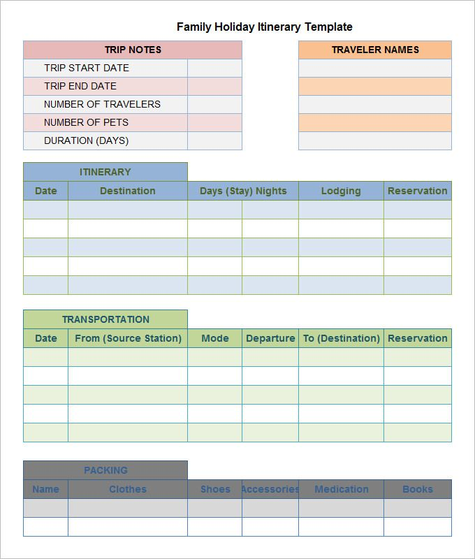 Microsoft Excel Itinerary Template Travel Planner Template Vacation Planner Template Itinerary Template