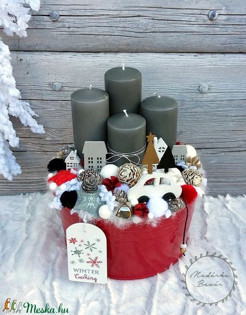 Modern karácsonyi város - adventi koszorú - adventbox (madarkamuhely) - Meska.hu