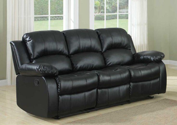 Black Sofa Part - 39: Black Leather Reclining Sofa