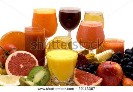 Glasses Of Fruit And Vegetable Juice With Fruits On A White Background ... .