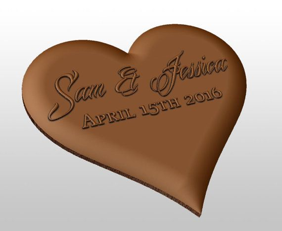 Heart shaped chocolate mold - personalized custom wedding or valentine day gift. Put your name and your significant other's name and the date of your big day on a piece of chocolate!