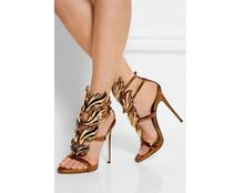 Desigher bladgoud sandalen stiletto hakken gouden mentale vleugels sandalen zomer schoenen lady elegant pompen(China (Mainland))