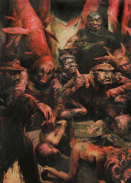APOLO CACHO, 'Maestro Limpio,' oil on wood