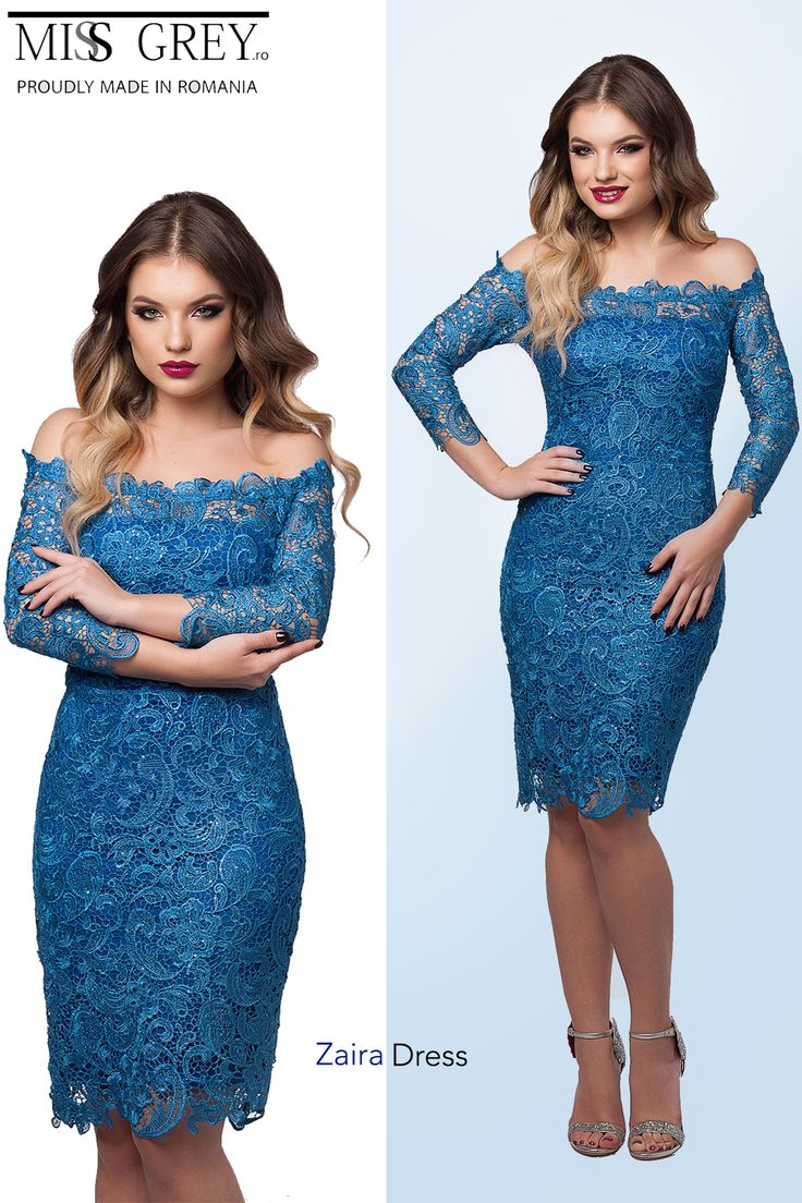 The off shoulder design of this lace dress in elegant blue shades is perfect for special events.