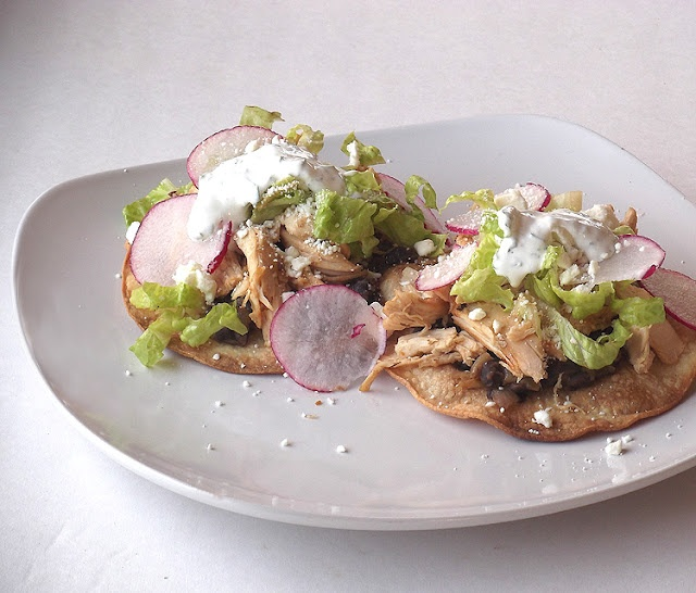 Chicken Tostadas with Black Beans and Cilantro-Lime Cream