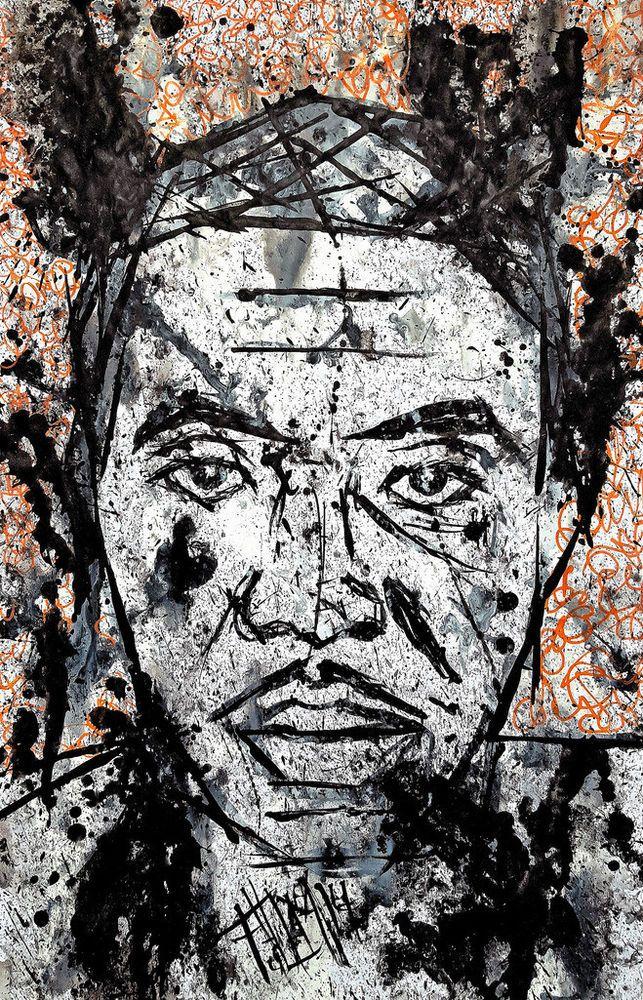 Franck de las Mercedes, Signed Art Print, INK BLOT portrait of Hip Hop MC NAS #PopExpressionism