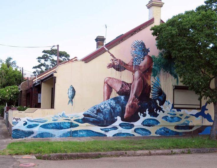 Nouveau Neptune... / Street art. / By Fintan-Magee, 2015.