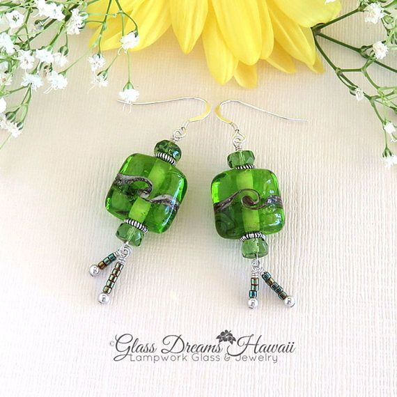 Apple Green Dangle Earrings Lampwork Glass Bead Earrings