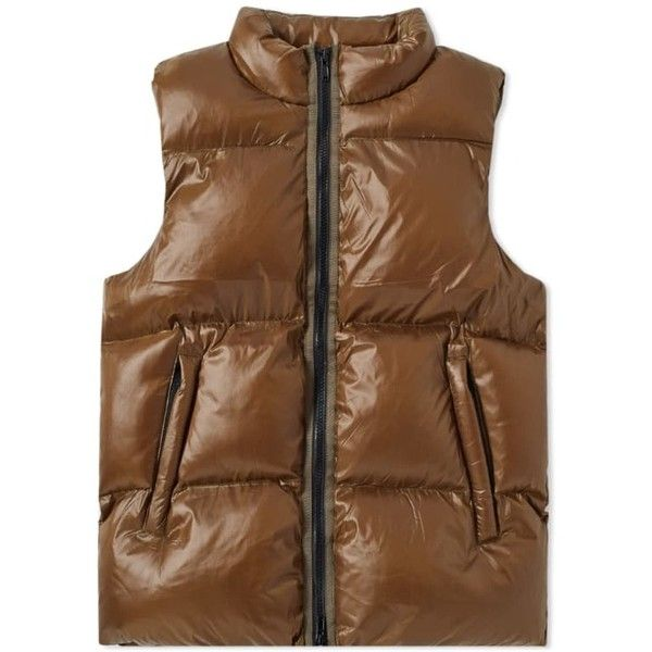 MKI Bubble Vest ($145) ❤ liked on Polyvore featuring outerwear, vests, short vest, bubble vest, padded vest, brown waistcoat and vest waistcoat