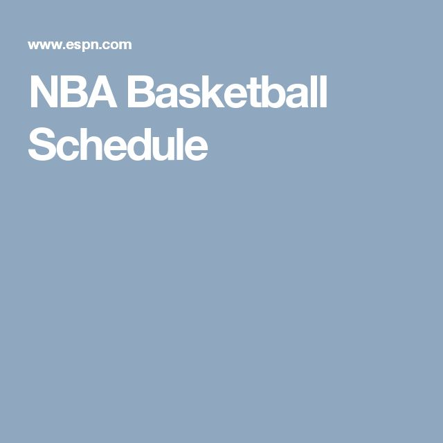 NBA Basketball Schedule