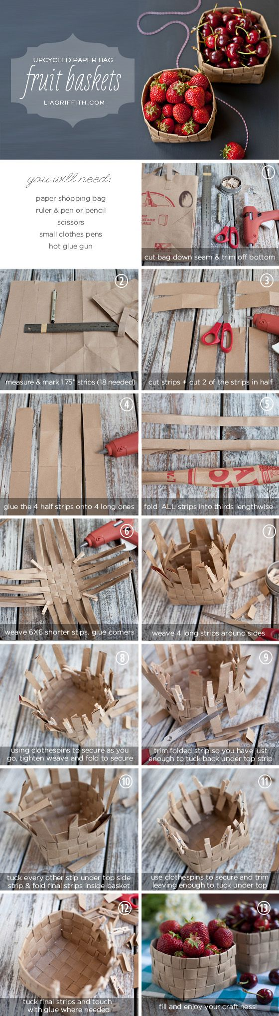 Fruit Basket -- great craft project for kids. Basic tutorial in basket weaving using paper grocery bags. Most grocery stores are happy to give you bags.