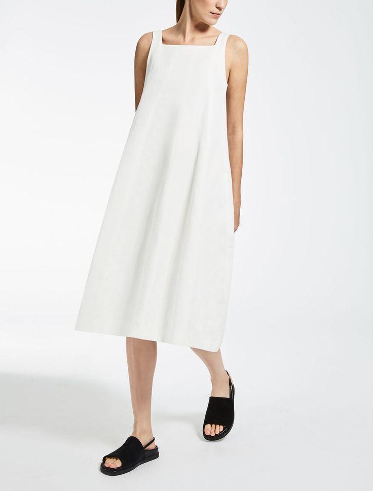 Max Mara RUBENS blanco: Vestido de lino y algodón.