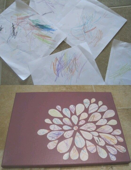 Have your child punch shapes out of their art and then re-position them on a canvas or board.