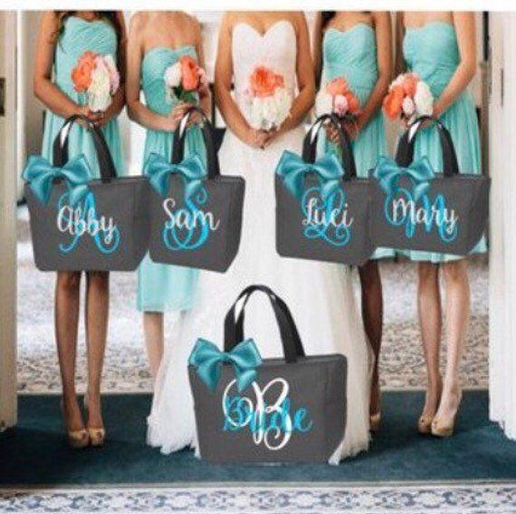 Bridal Party Bag Wedding Party Gift Set of 6 Bridesmaid tote bag Personalized Bridesmaid Bags Wedding Party Gift Bridesmaid Gift