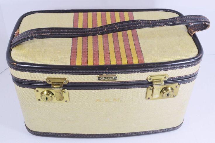 """Vintage Oshkosh Chief Luggage Striped Train Makeup Suitcase with Key 1930's 15"""" #Oshkosh #MakeupCase"""