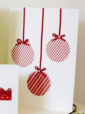 Make a trio of baubles Christmas card