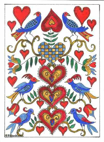 Fraktur with Twenty six Hearts and Six Birds